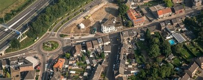 Luchtfoto rotonde Witte Hoek Rothem (fotograaf Aron Nijs)